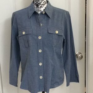 Ladies denim color button front shirt